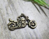 Wholesale 75 Ancient Bronze Motorcycle Charm Pendant x13 mm