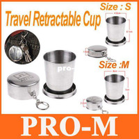 Wholesale 5pcs Stainless Steel Portable Mini Travel Retractable Cup Keychain Telescopic Travel Cup Free