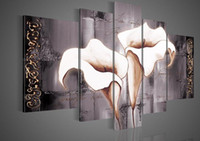 Wholesale Hand painted Hi Q abstract oil painting on canvas pale lilac common callalily set framed