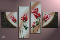 Wholesale Hand painted Hi Q modern abstract decorative flower oil painting on canvas rose set framed