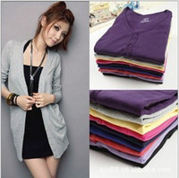 Wholesale New Fashion Women s Cardigan Sweater Long sleeve Casual Slim Cotton Solid Knitwear Hoodie Colors