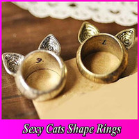 Wholesale Antique Rings Vintage Cat Ears Ring Fashion Jewelry Great Gift For Lady Cheap Unique Finger Ring JZ7