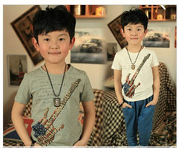 Wholesale children summer boys stars aircraft guitar pattern short sleeved t shirt dandys