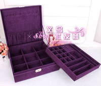 Wholesale Jewelry Box Pouches Bags Vintage Exclusive Purple Large value Leather Storage boxes Lady Jewel Case