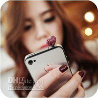 Earphone Jack Plugs PJ001 Zhejiang China (Mainland) Fashion !!!(Red \ Silver Color) Love Crystal Rhinestone dust plug of cell-phone Mixed Order !!! Free