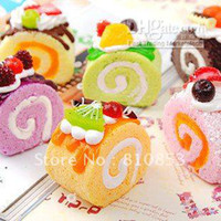 Wholesale Squishy Buns Fruit cake roll Charms Squishies Cell Phone Straps Lc