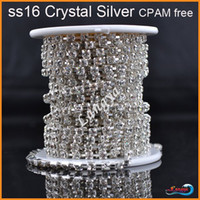Wholesale A21002 Sew on Crystal Rhinestone cup chain Sparse claw ss16 Crystal yards roll Silver