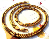 Wholesale Noble k yellow solid gold GF necklace chain bracelet concentrated sets
