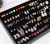 Wholesale Earring Displays jewelry Display Tray Black velvet wooden leather Jewelry holder cheap showcase case