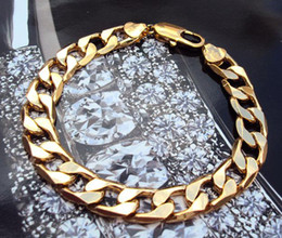 "Gool Men's 18k yellow gold thick bangle bracelet 10mm width 9"" 225mm 100% real gold, not solid not money."
