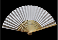 Wholesale flower bone plain paper fan inch White pieces yh
