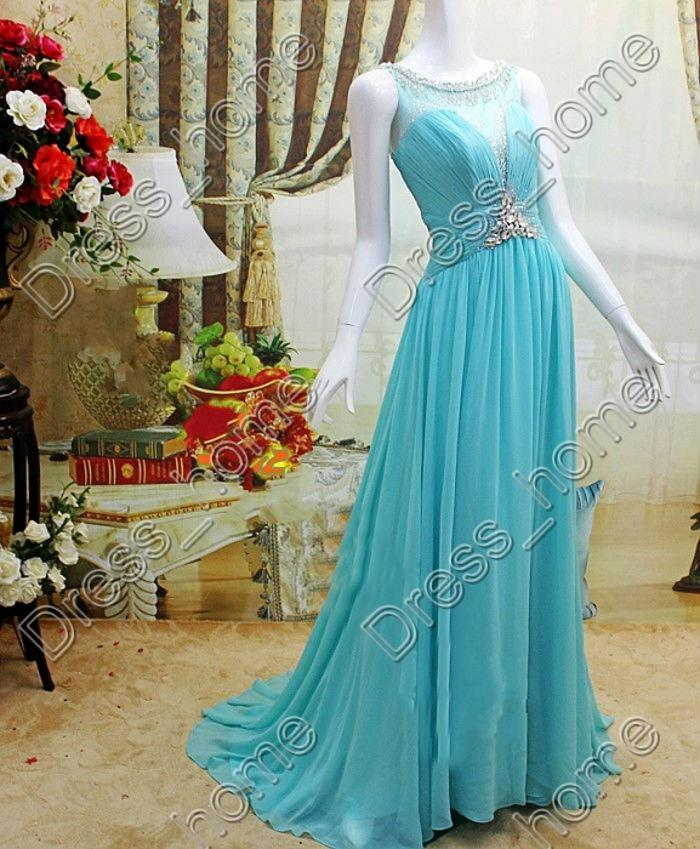 Wedding Dress For Rent Houston : Unique design a line scoop floor length blue chiffon