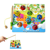 Wholesale Colourful Child s DIY Wooden Puzzle Magnetic Fishing Beetle Educational Toy