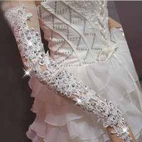 Wholesale White Wedding Dress Bridal Gloves Bridal Accessory Long Length Beaded Lace Sequi sexy gloves