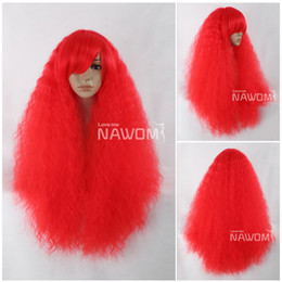 Wholesale cosplay long red wave100 Kanekalon Fiber Synthetic women Hair High quality fashion lady Wig H9141Z