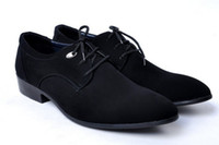 Men Wedges Chunky Heel Pure color Nubbuck man cusp lace-up Leather shoes Business dress shoes classic Single shoes JK07