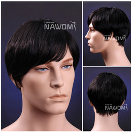 Wholesale male Glamorous Charming fashion black straight Kanekalon Fiber Synthetic Wig Hair H9149Z