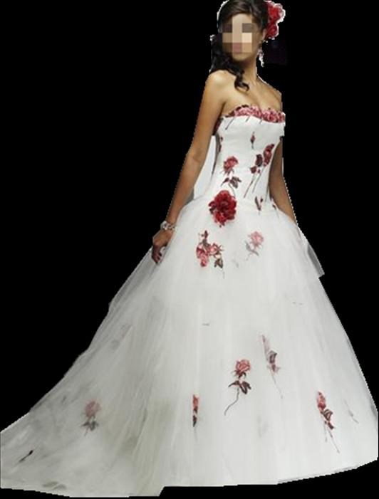 Discount Vintage White Red Rose Flowers A Line Wedding Dresses Gown Strapless Tulle Sweep Train