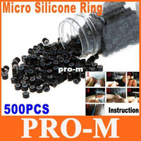 Wholesale 500pcs Black Silicone Micro Link Beads Rings Hair Extensions Toos Dropshipping