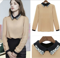Wholesale 2013 NEW Women s shirts polo collar long sleeve women s t shirts slim women shirt Chiffon shirts