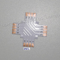 Wholesale Newest RGB led strip connectors cross type for smd LED RGB strips light no welding