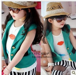 Wholesale Children s fashion waistcoat girl s fashion turn down collar suit style waistcoat