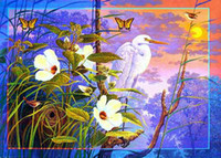 Wholesale Crane Standing In Flower Animal World Oil Painting Home Decoration Art Wall decoration Paintings