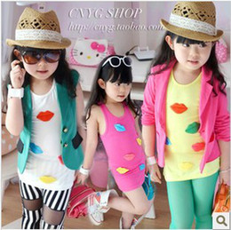 Wholesale Girl s cartoon lips long vest children pure cotton long vest color