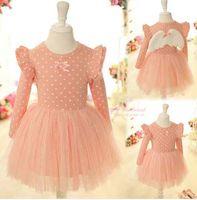 Wholesale Baby kids Girls lace Dress angel wing long sleeve Birthday Party Dress set tutu Pettiskirt dresses