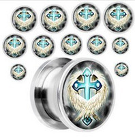Cheap Gauge Steel Embraced Cross Screw Fit ear Plug tunnel earring body piercing jewelry hot sale 100pcs