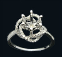 rose gold ring semi mount round - 6mm Round Solid14k Rose Gold Engagement Wedding Diamond Semi Mount Ring Setting
