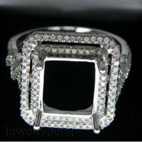South American 14kt gold jewelry - jewelry Emerald Cut x11mm Solid white Gold kt Ct Diamond Engagement Setting Ring