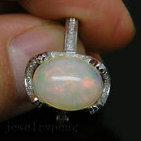 Cheap 4.45Ct Solid 14kt White Gold Natural Diamond Oval 9x13mm Opal Wedding Engagement Ring