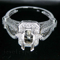 emerald cut diamonds - Emerald Cut x7mm Solid Kt White Gold Diamond Wedding Engagement Mounting Setting Ring