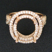 24k solid gold ring - Round mm Solid Kt Rose Gold Ct Pave Diamond Engagement Semi Mount Ring
