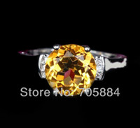South American Women's Engagement Jewelry Natural 1.77ct Citrine 14K White Gold Diamond Engagement Promise Filigree Ring
