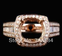 White H-I jewelry mounts - Jewelry mm round Cut ct diamond Real k Rose gold semi mount Wedding Engagement ring g