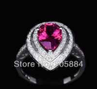 Women's 10k gold ring - Jewelry Pear ct Pink Tourmaline ctw Diamond K White Gold Halo Engagement Ring