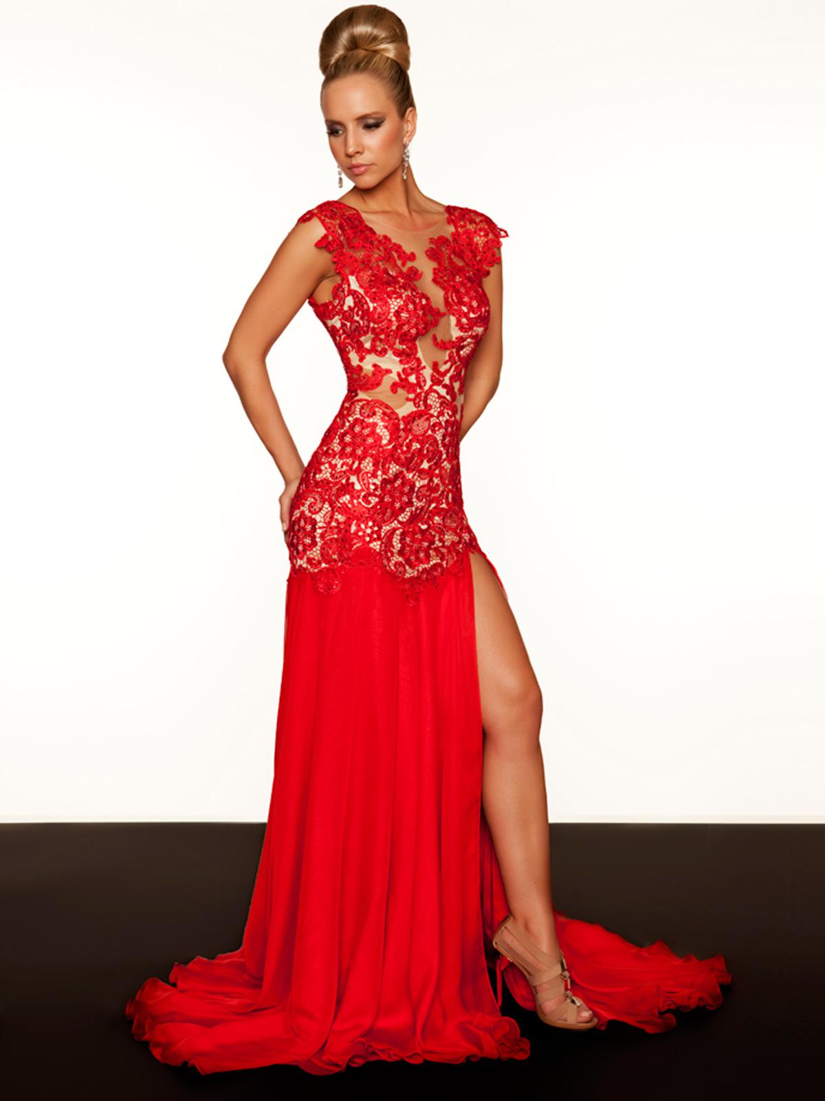 Captivating Stylish Sexy 2015 Red Lace Evening Dresses Chiffon ...