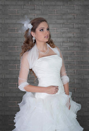 Wholesale White Ivory New Tulle Jacket Bridal Wrap Shrug Long Sleeve Bolero Wedding Party Prom