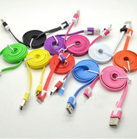 Wholesale 500pcs M M M Noodle Flat Color Micro USB Data Sync Charging Cable For Galaxy HTC Blackberry Moto Nokia DY