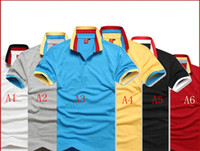 Men Polo Short Sleeve 2013 new short-sleeved polo shirt lapel embroidery color collar size M-XXL 100% cotton drop shipping