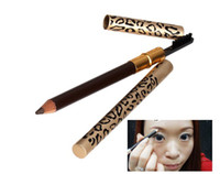metal leopard - 100 Pencil With Brush Eyebrow Leopard Design Metal Casing Two Sides Eyebrow Pencil