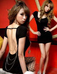 Wholesale Super Sexy Slim U Collar Metal Chain Backless Night Club Short Dress Fashion