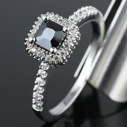 Women Square Black Onyx Engagement Band .925 Sterling Silver Ring R148BO WED Size 5.5 Promise Gift