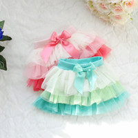 Wholesale Baby girls skirts fashion kids girl lace cake skirt bowknot bow tutu pettiskirt mult layer
