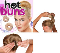 Wholesale 200pack hair roller HOT BUNS Dark Hair Set Large amp Small Hair Style Bun Maker pieces box