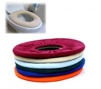 Toilet Washable Cloth Seat Cover Mix colour  Wholesale - - Bathroom Warmer Toilet Washable Cloth Seat Cover Pads 200Pcs