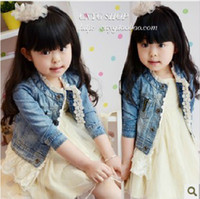 Wholesale new Korea coat girls fashion coat children denim with lace outears coats kids clothing lcagmy