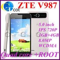 ZTE 5.0 Android ZTE V987 MTK6589 Quad Core Smartphone 5.0inch Android 4.1 os IPS 1GB 4GB ROM 8.0MP 3G GPS Russian